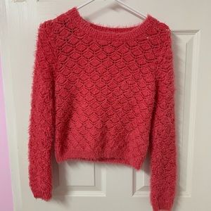 Coral Fuzzy Sweater
